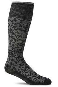 Women's Damask | Graduated Compression Moderate 15-20 mmHg SW16W Therapeutic Compression Socks Sockwell S/M Black Merino Wool/Bamboo/Nylon/Spandex