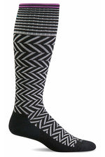 Women's Chevron | Graduated Compression Therapeutic Compression Socks Sockwell S/M Black Merino Wool/Bamboo/Nylon/Spandex