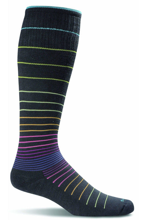 Women's Circulator | Graduated Compression Moderate 15-20mmHg SW1W Therapeutic Compression Socks Sockwell S/M Black Stripe MERINO WOOL/BAMBOO/NYLON/SPANDEX