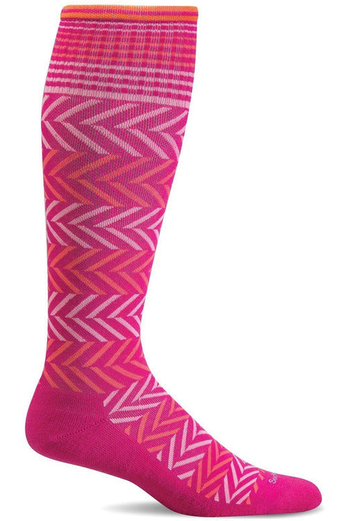 Women's Chevron | Graduated Compression Therapeutic Compression Socks Sockwell S/M Azalea Merino Wool/Bamboo/Nylon/Spandex