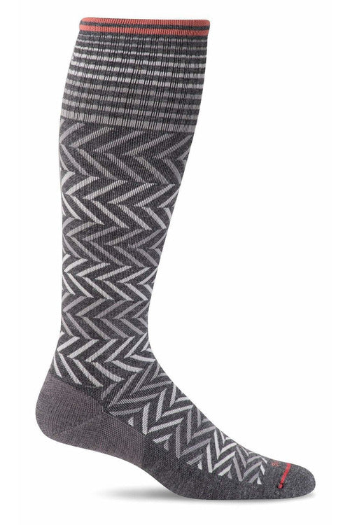 Women's Chevron | Graduated Compression Therapeutic Compression Socks Sockwell S/M Charcoal Merino Wool/Bamboo/Nylon/Spandex