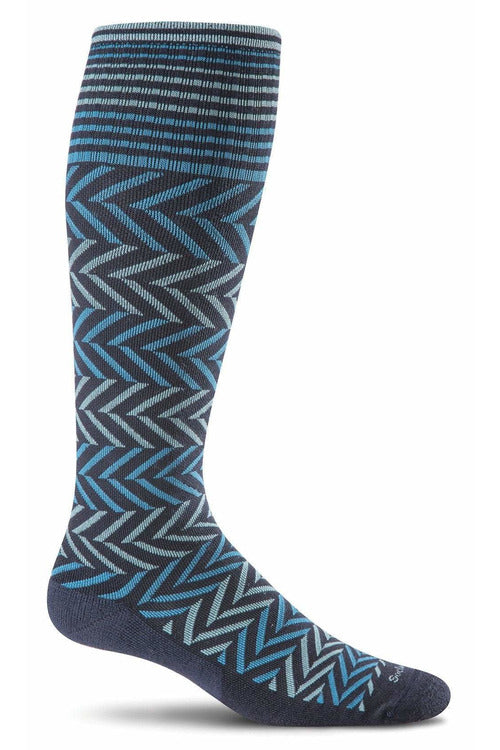 Women's Chevron | Graduated Compression Therapeutic Compression Socks Sockwell S/M Navy Merino Wool/Bamboo/Nylon/Spandex