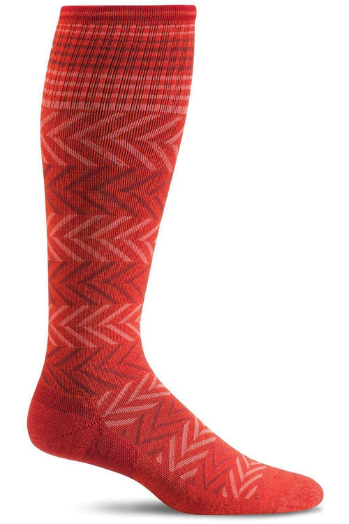 Women's Chevron | Graduated Compression Therapeutic Compression Socks Sockwell S/M Poppy Merino Wool/Bamboo/Nylon/Spandex