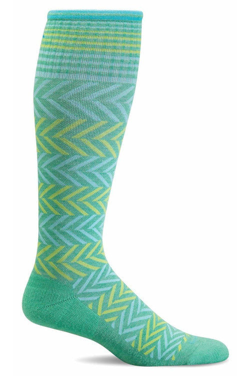 Women's Chevron | Graduated Compression Therapeutic Compression Socks Sockwell S/M Spearmint Merino Wool/Bamboo/Nylon/Spandex