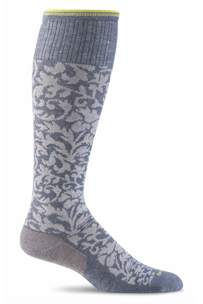 Women's Damask | Graduated Compression Moderate 15-20 mmHg SW16W Therapeutic Compression Socks Sockwell S/M Denim Merino Wool/Bamboo/Nylon/Spandex