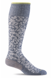 Sockwell Therapeutic Compression Socks S/M / Denim / Merino Wool/Bamboo/Nylon/Spandex Compression Socks - Womens Damask - Moderate 15-20 mmHg SW16W