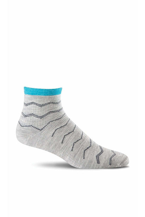 Women's Plantar Ease Quarter | Graduated Compression Firm Compression SW14W Therapeutic Compression Socks Sockwell S/M Lt. Grey Merino Wool/Bamboo/Nylon/Spandex