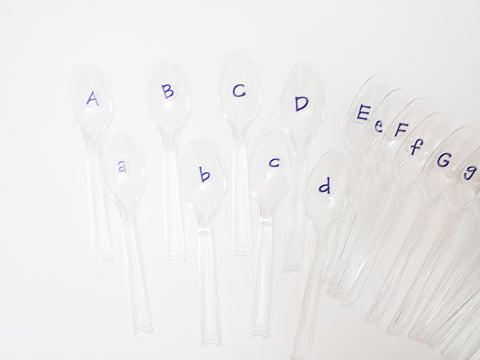 Alphabet spoons activity