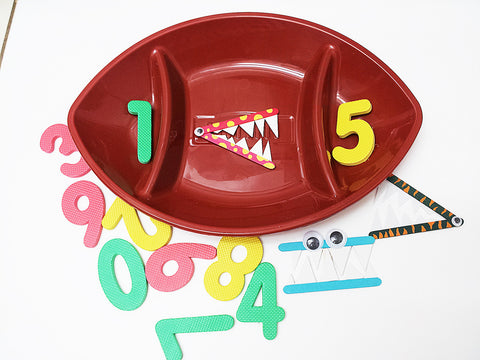 Divided football shaped tray great for math activities