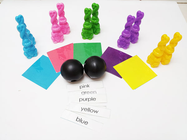 Color Bunny bowling set, color learning activity , gross motor skills