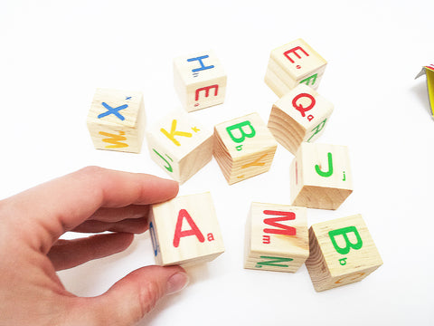 Alphabet wooden mini cubes