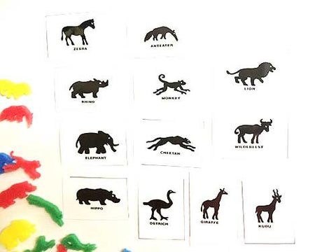 Silhouette flashcards PDF with words: ZOO