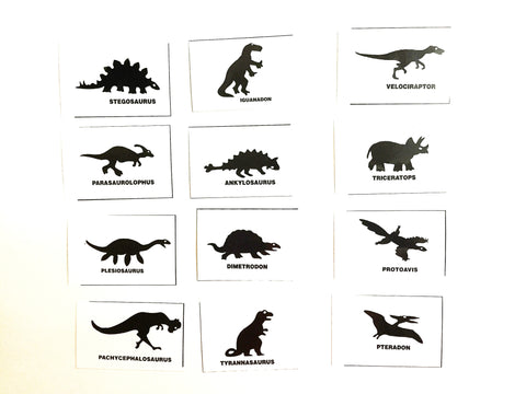 Silhouette flashcards PDF with words: DINOSAURS