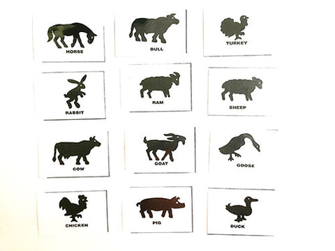 Silhouette flashcards PDF with words: FARM