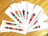 Pattern of bats stacking pencil activity with laminated cards