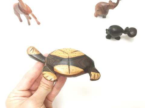 African wooden carved animals: TURTLE