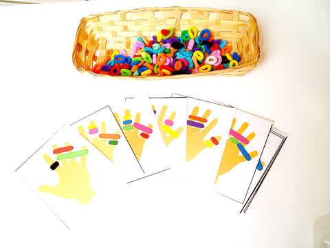 Hand-a-pattern activity with colored terry loops