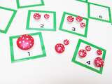 Waldorf miniature wooden mushrooms toadstools with cards counting activity, math basics, preschool
