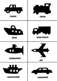 Silhouette flashcards PDF with words: TRUCKS CARS