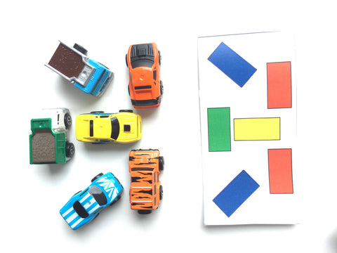 Cars/mini cars logic matching color cards game, park-a-car game PDF