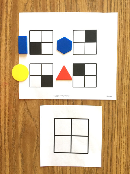 Place-A-Shape 4 grid 4 shapes,  logic eye coordination game mats PDF BEGINNER