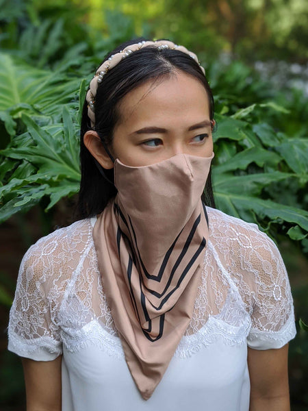 The Manta Mask with Adjustable Ear Loops - Brown/Black Stripes