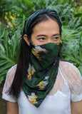 The Manta Mask with Adjustable Ear Loops - Green Animal Print