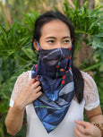 The Manta Mask with Adjustable Ear Loops - Blue Floral Print