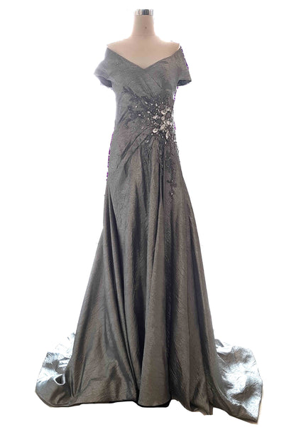 Rent : Liliana Lim - Silver Sabrina  A Line Gown