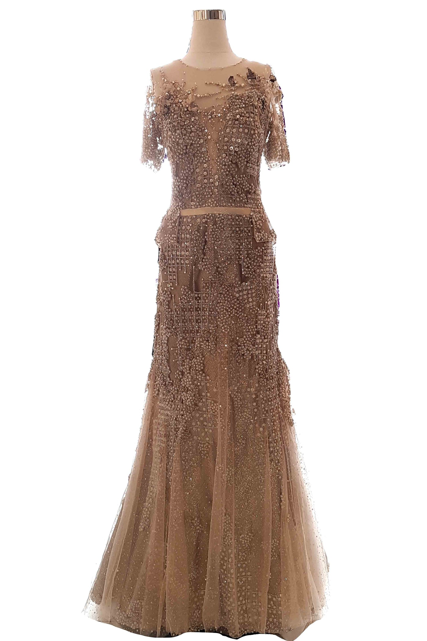 Rent: Rusly Tjohnardi - Gold Square Pattern Mermaid Gown