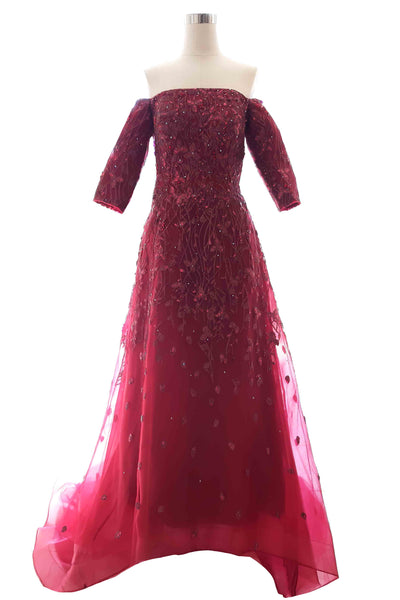 Rent: Peaches Pinkish - Maroon Sabrina Longsleeve A Line Gown