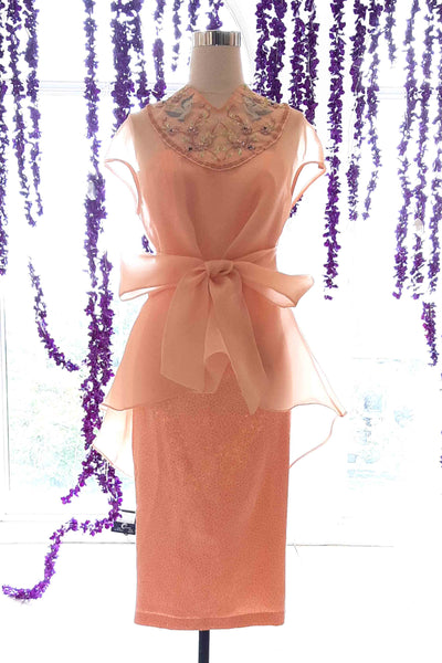 Rent : Peaches Pinkish - Peach Cheongsam Short Dress