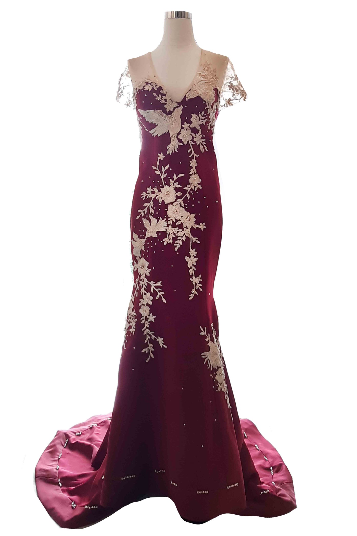 Buy : Harry Ibrahim - Maroon V Neck Embroidery Gown