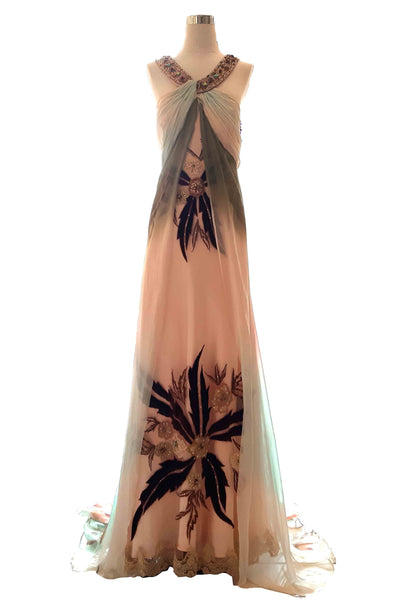 Rent : Private Label - Halter Silk Pastel Beaded Maxi Dress