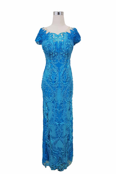 Rent: Wiki Wu -  Blue Full Embellishment Long Dress
