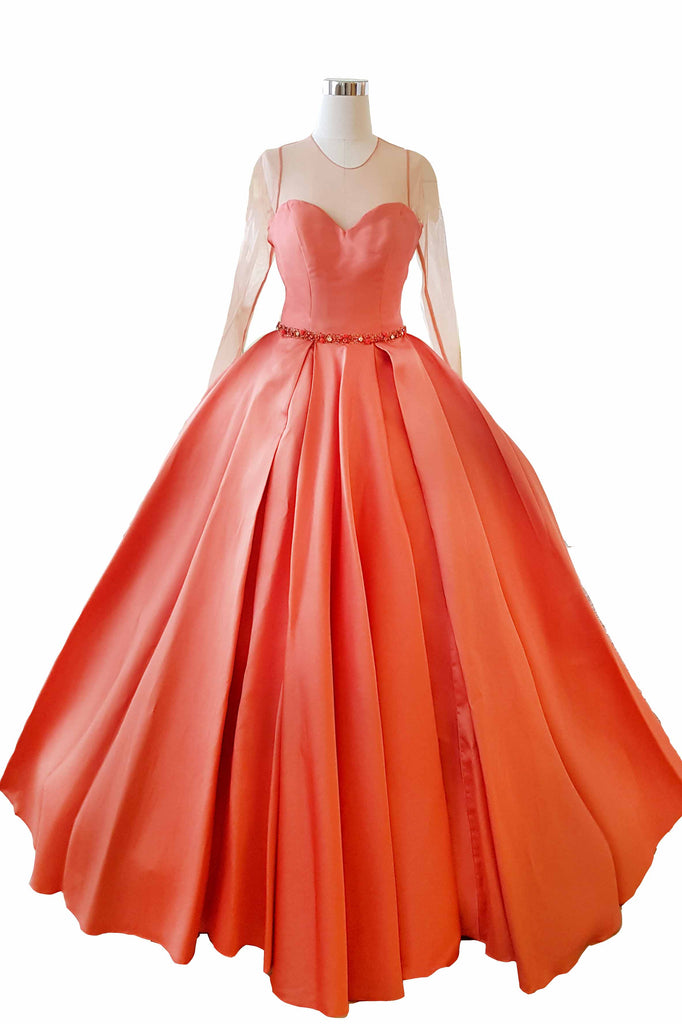 Rent: Cinobi Long Sleeves Sweetheart Beaded Ball Gown