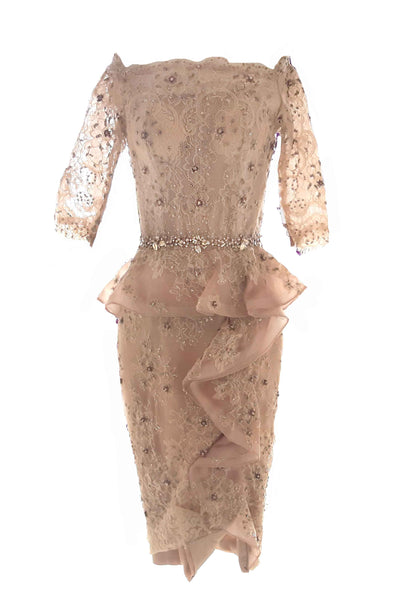 Rent: Therisia Law - Beige Lace Dress with Beaded Ruffles