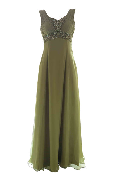 Buy : Bridal Image - Green Sleeveless Babydoll Chiffon Long Dress