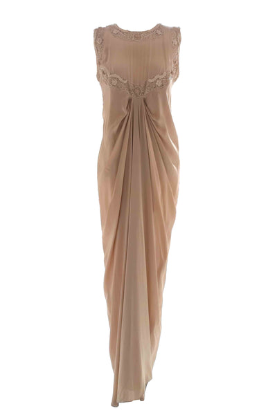 Rent: Elements By Ronald V.G - Draped Cream Silk Satin Sleeveless Dress