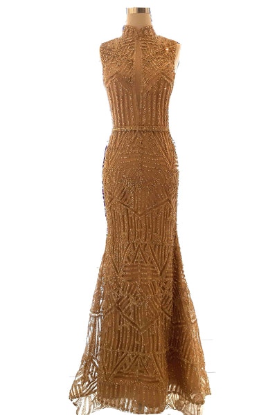 Rent : Fifi Firianty - Gold Sleeves Cheongsam Mermaid Gown