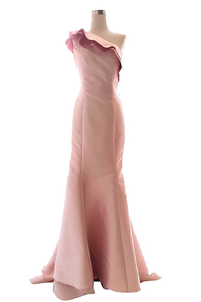 Rent : Terani Couture - One Shoulder Ruffles Mermaid Gown with Flower at the Back