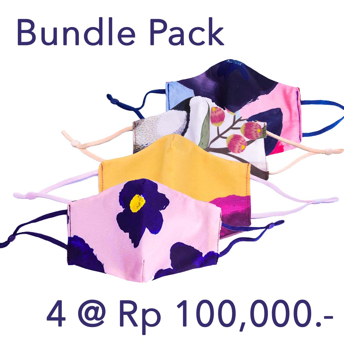 Bundle Pack: 4 pcs of 2-Ply Anti-Bacterial Face Mask with Adjustable Ear Loops & Filter Pockets
