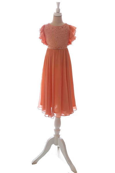 Rent : Peaches Pinkish - Peach Ruffles Sleeves Kids Dress