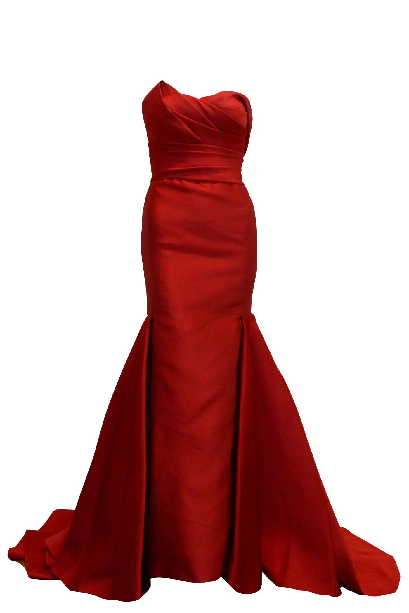 Sale: Adrian Gan Red Strapless Pleated Mermaid Gown