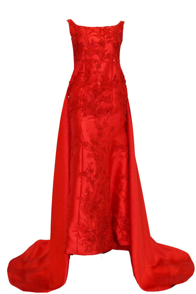 Rent: Agvsta By Bethania Red Sleeveless Mermaid with Tail Gown