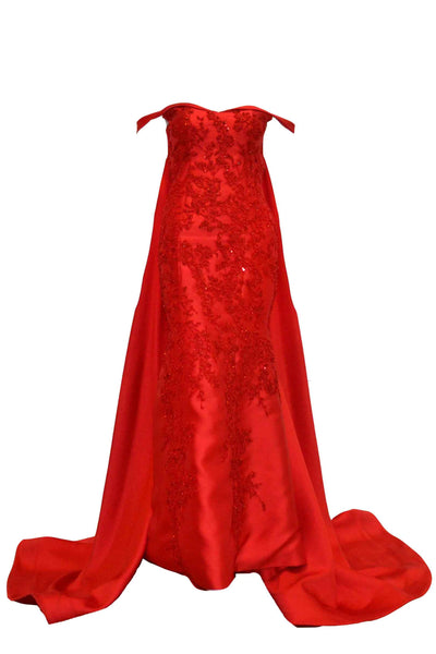 Rent: Agvsta By Bethania Red Sabrina Mermaid with Tail Gown