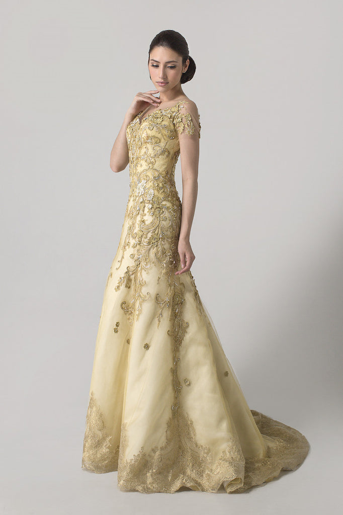 Albert Yanuar - Buy: Golden Short Sleeves Beaded Gown-The Dresscodes - 1