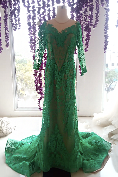 Rent: Anaz Khairunnas - Green Long Sleeves Mermaid Gown with Train