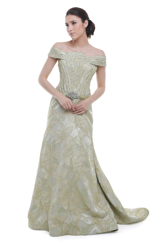 Andreas Odang - Buy: Pastel Green Off The Shoulder Gown-The Dresscodes - 1