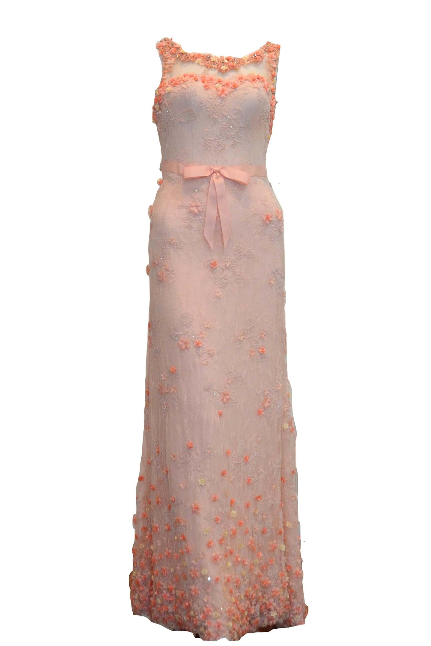 Sale: Andreas Odang Peach Sleeveless Flower Embroidery with Ribbon Gown